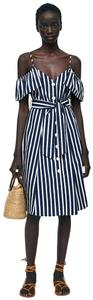 Zara short dress Blue white stripe New With Tags Nautical Off Shoudler on Tradesy