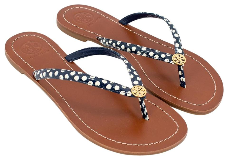 4aae490ea89 Tory Burch Navy White Nautical Terra Thong Dots Flip Flop Sandals. Size  US  9 Regular (M ...