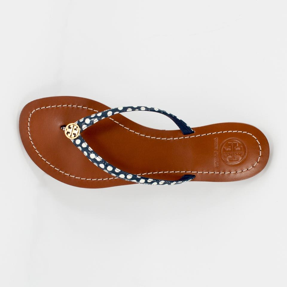 8f2b42512dc Tory Burch Navy White Nautical Terra Thong Dots Flip Flop Sandals Size US 9  Regular (M