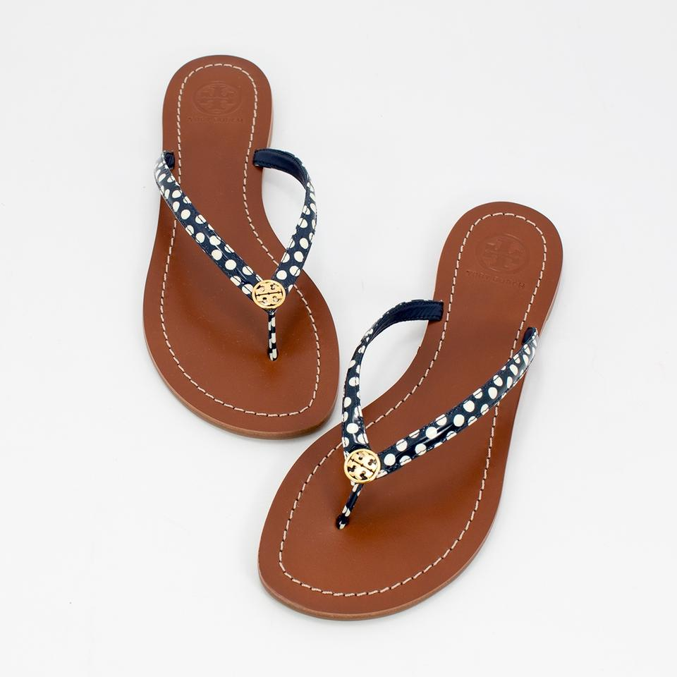 f6c8e196fb5 Tory Burch Navy White Nautical Terra Thong Dots Flip Flop Sandals ...