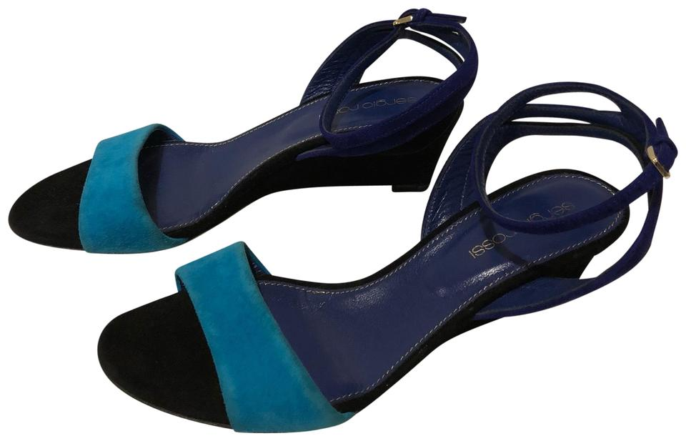 519b6418b5194 Sergio Rossi New Anke Strap Wedge Suede Leather Sandals Size EU 36.5 ...