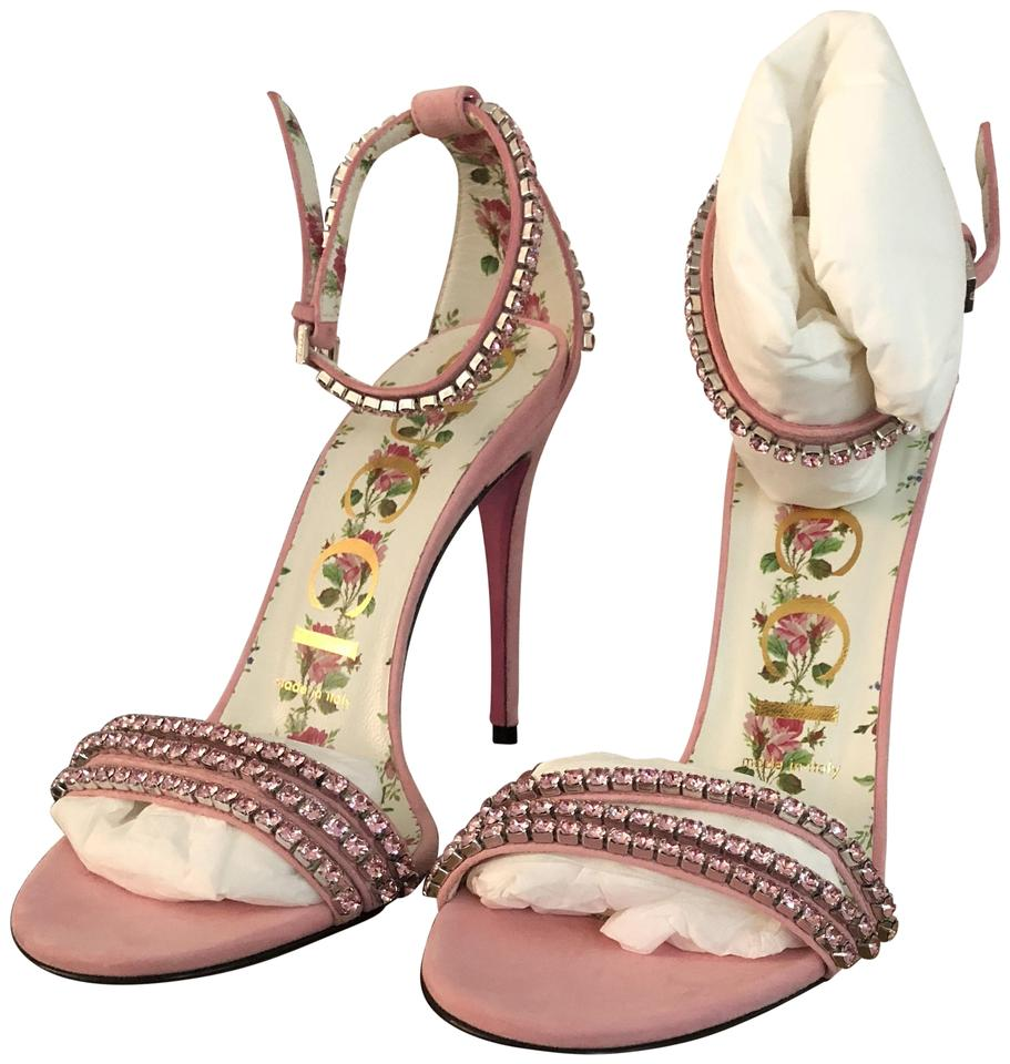 91c86a2fff0e Gucci Pink Crystal Embellished Sandals Size EU 36.5 (Approx. US 6.5 ...