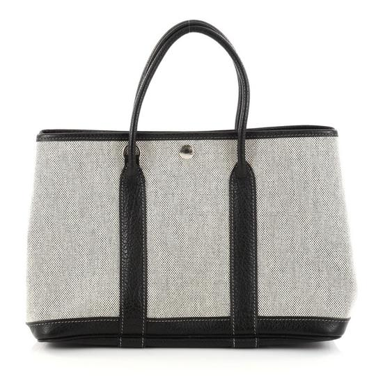 Hermès Leather Tote in Off-white and Black Image 3