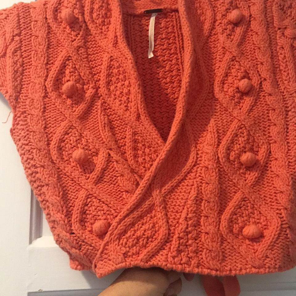 850d716e341 Free People Cable Knit Cropped Wrap Orange Sweater 65% off retail