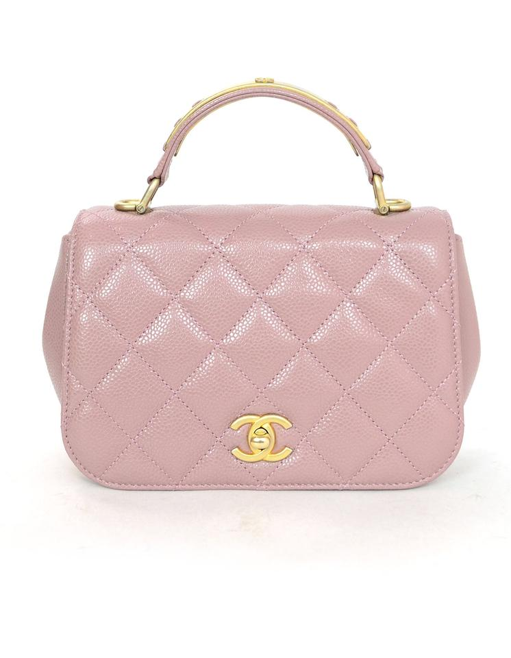 d5c413f7e98c Chanel Top Handle Bag Caviar Mini Carry Around with Db Blush Leather ...