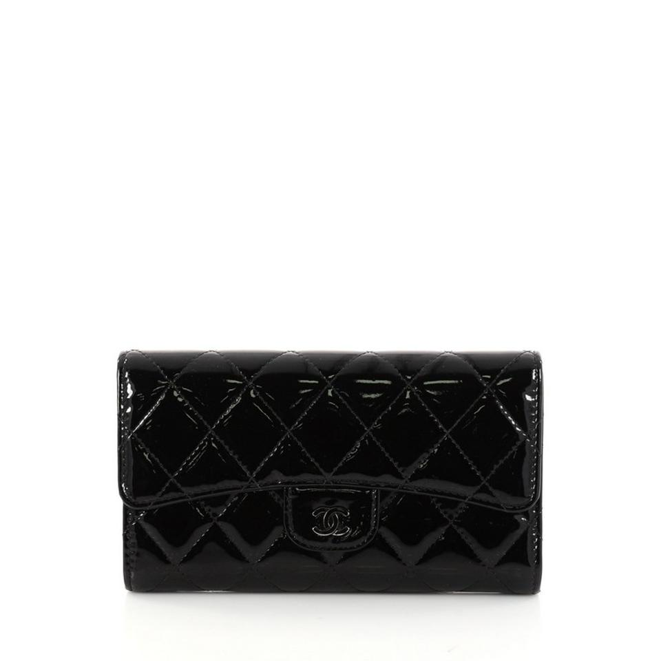 414f7f9608e6be Chanel L Flap Wallet Quilted Long Black Patent Leather Clutch - Tradesy