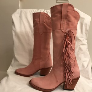 Lucchese Leather Nubuck Suede Fringe Western Pink Boots