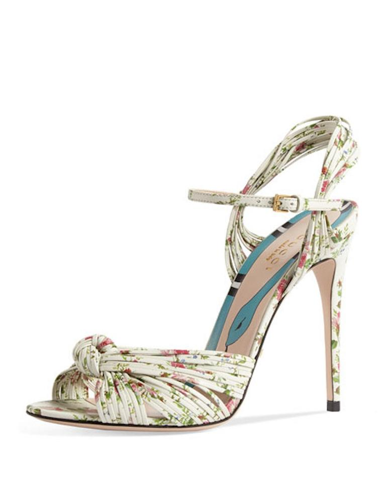975d2093b Gucci Ivory Allie White Pink Floral Knotted Ankle Strap Sandal Heel ...