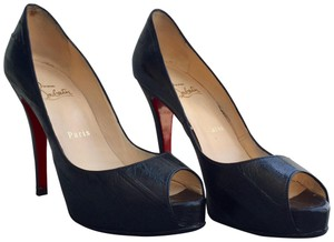 Christian Louboutin Red Sole Red Bottom Peep Toe Platform Leather Black Pumps