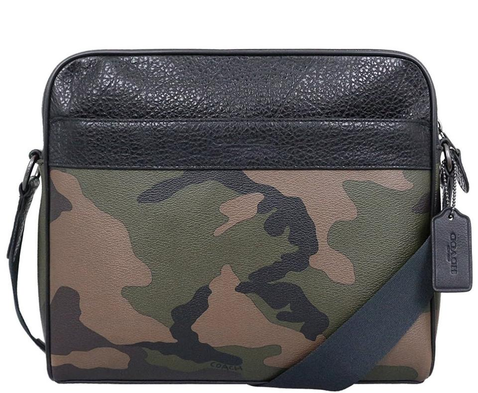 333bfe3596 Coach Charles Camera with Camo Print F29052) Multicolor Canvas Messenger Bag