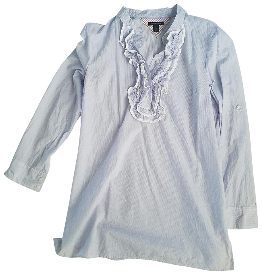 459ae8f21 Tommy Hilfiger Light Blue and White Stripe with Ruffles Tunic Size ...