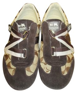 Coach Velcro Sneakers 10 Gold & Chocolate Brown Athletic