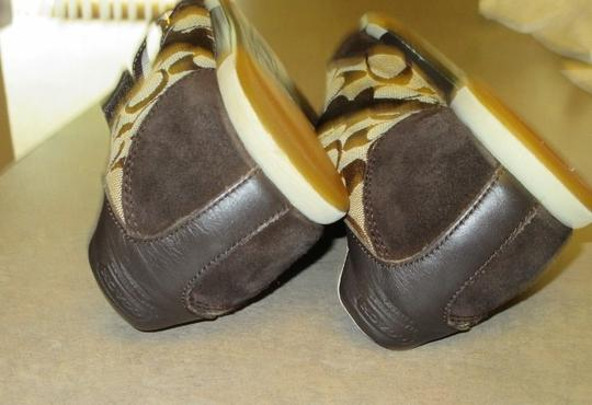 Coach Velcro Sneakers 10 Leather Gold & Chocolate Brown Athletic