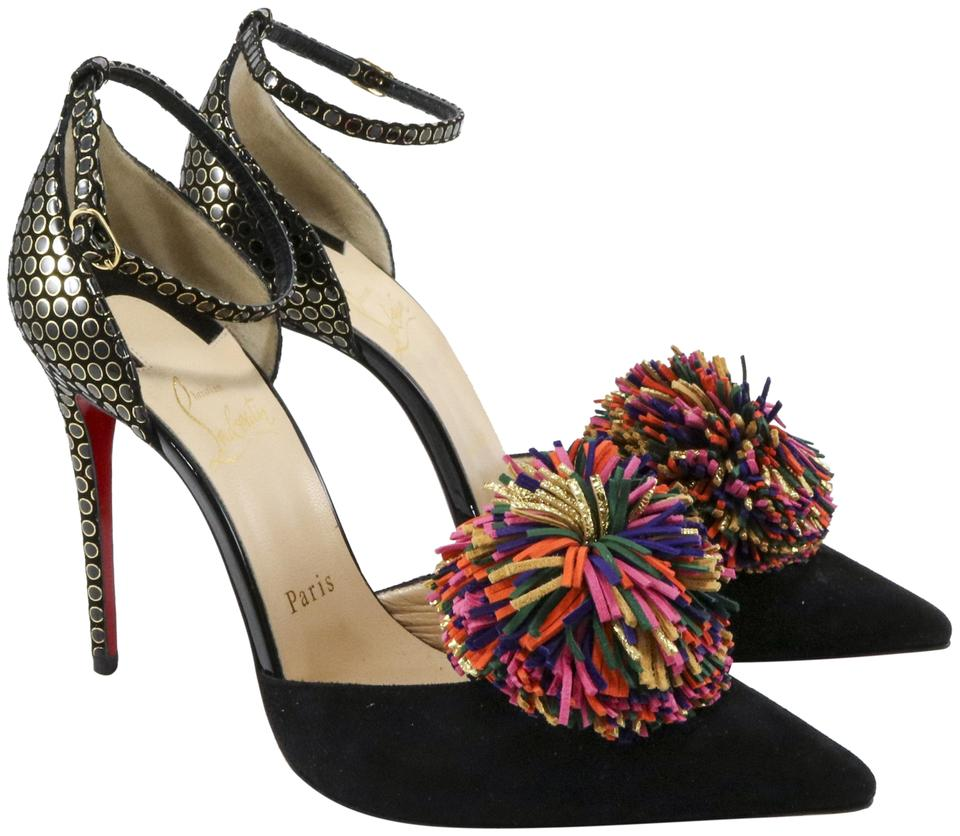 online retailer d72d8 64734 Christian Louboutin Black Tsarou 100mm Pom Pom A760 Pumps Size EU 37.5  (Approx. US 7.5) Regular (M, B) 35% off retail
