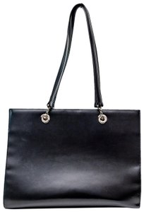 Cartier Luxury Leather Silver Hardware Classic Chain Tote in Black