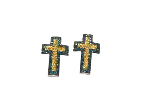 Preload https://img-static.tradesy.com/item/23593817/blue-and-yellow-diamond-10k-cross-earrings-0-0-540-540.jpg