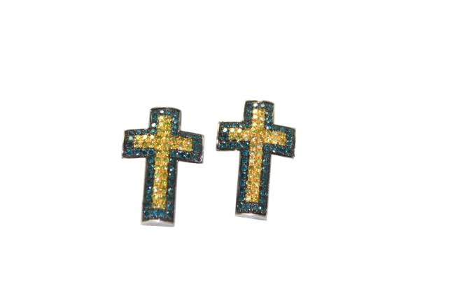 Blue and Yellow Diamond 10k Cross Earrings Blue and Yellow Diamond 10k Cross Earrings Image 1
