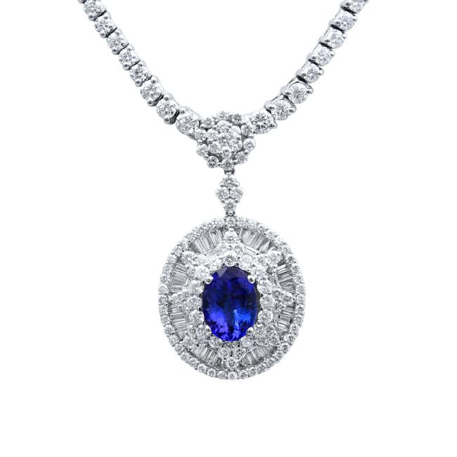 Item - Blue Oval Tanzanite Aaa Diamond 18k White Gold (20383) Necklace
