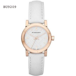 Burberry Burberry BU9209 Rose Gold White Dial Ladies White Leather Strap Watch