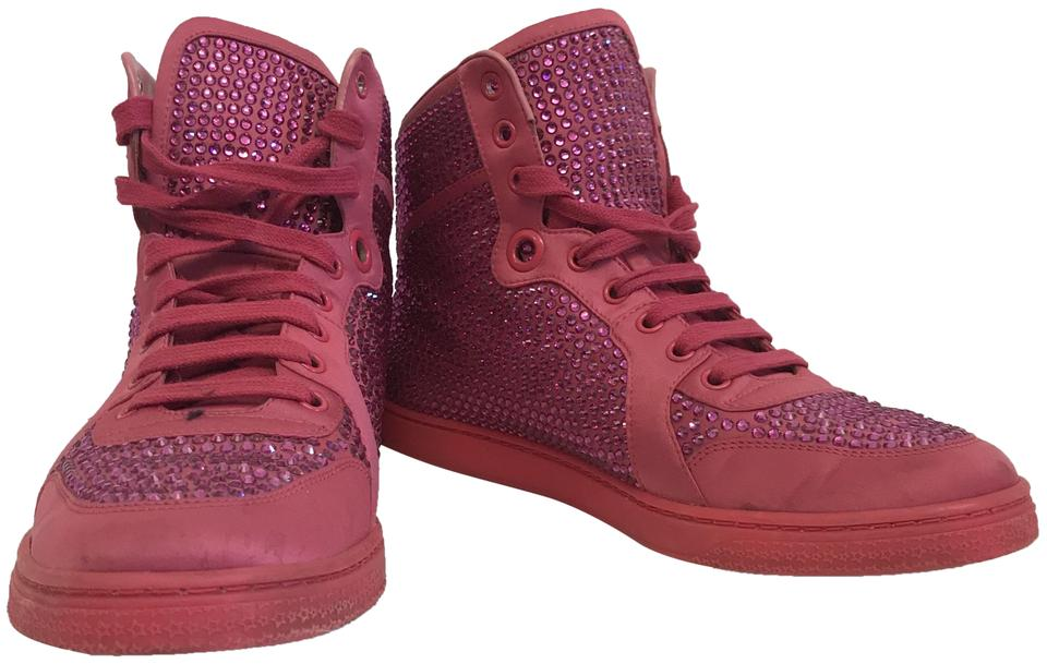 37dae8271 Gucci Pink Women's Coda Satin Effect Crystal Stud High Top Sneakers ...