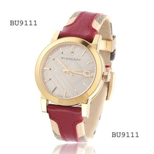 Burberry Burberry BU9111 Women's Swiss Check Fabric & Red Leather Band Watch