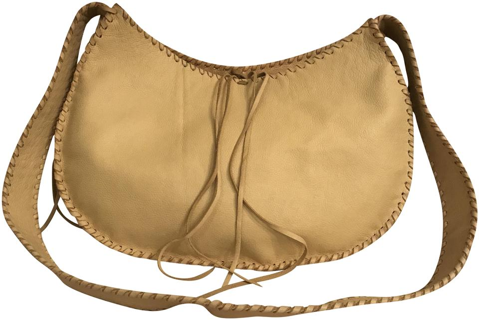 decc62a796 Xl Large Beige Yellow Deerskin Leather Cross Body Bag - Tradesy