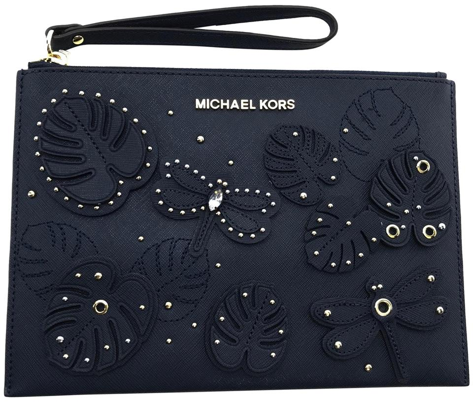3e6c0a8e6c1a Michael Kors Jet Set Travel Embellished Navy Zip Blue Leather Clutch ...