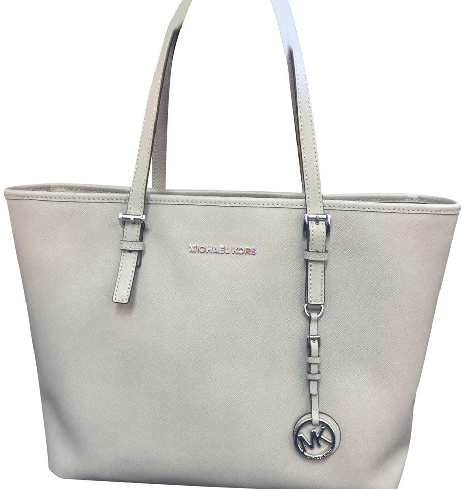 8ac889320c43d2 Michael Kors Jet Set Travel Medium Saffiano Top-zip Pearl Silver Leather  Tote