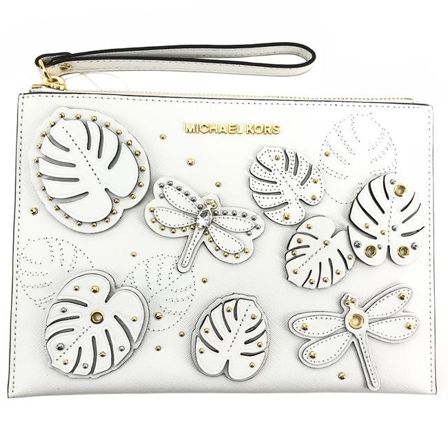 Item - XL Jet Set Travel Embellished Navy Zip White Leather Clutch