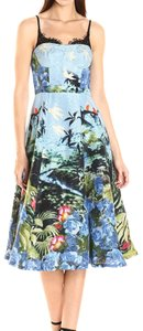 Plenty by Tracy Reese Tea Length A-line Wedding Guest Bustier Floral Dress