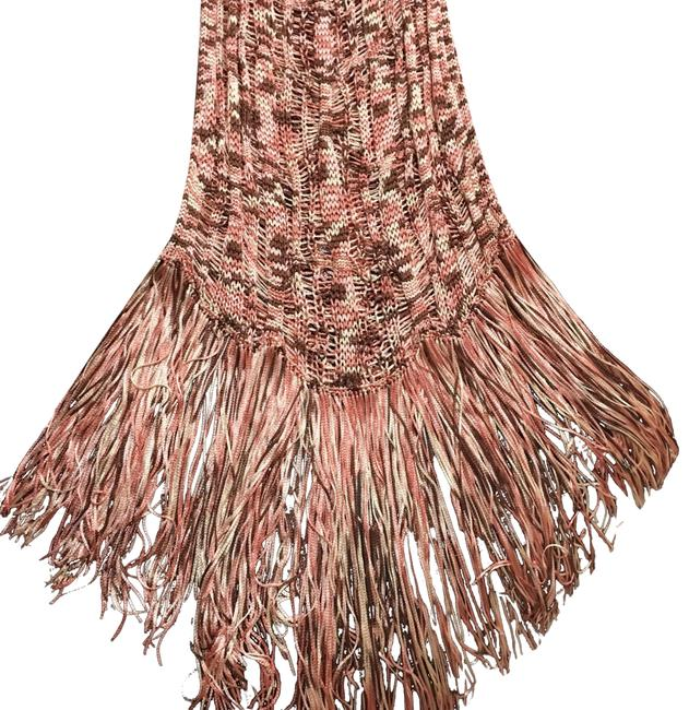 Item - Peach Brown Fringe Maxi with Fringe Bag Long Night Out Dress Size 12 (L)