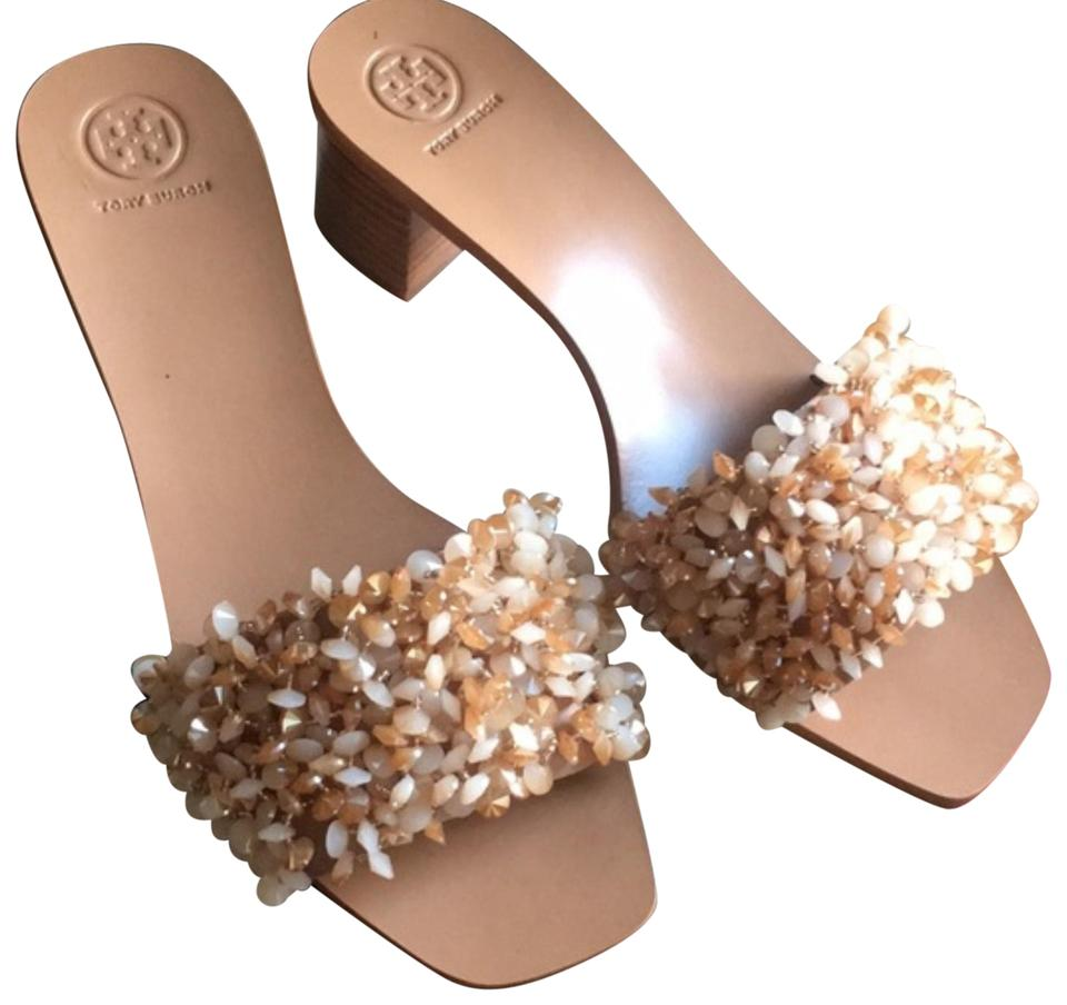 4d519c617c76 Tory Burch Nude Kim Kardashian Slide Leather Beaded Rose Natural Sandals  Image 0 ...