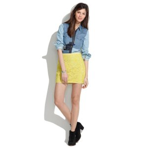 Madewell Meadowlace Lace Lace Mini Skirt Yellow