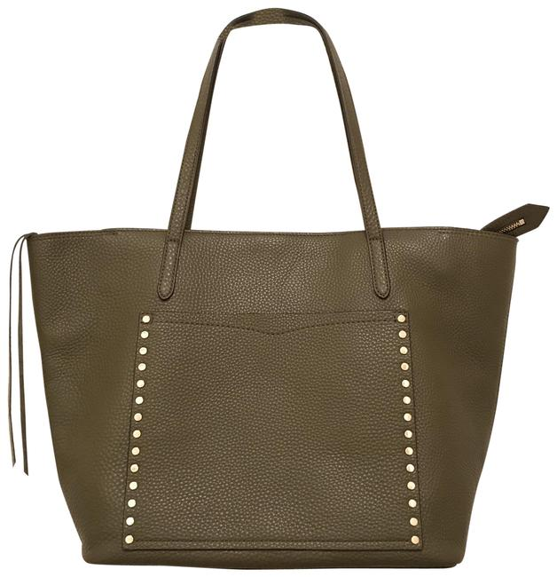 Item - New Unlined Front Pocket Studs Green Silver ` Leather Tote