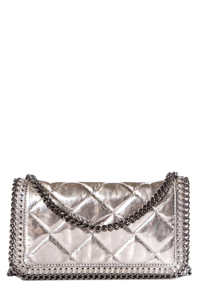 Stella McCartney Metallic Quilted Silver Leather Cross Body Bag ... cc334c7eb18e7