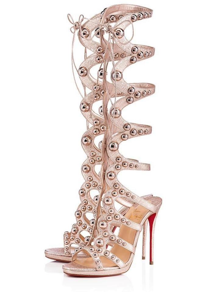 bf95070c1a28 Christian Louboutin Stiletto Classic Amazoubille Studded Gladiator rose  gold Pumps Image 0 ...