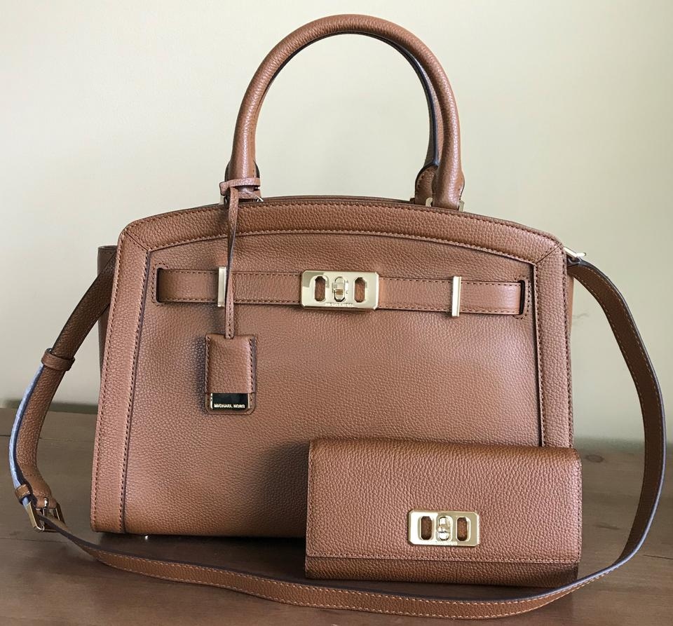 e7e2ffb884d4 Michael Kors Set 2 Pcs Karson Large Satchel and Matching Wallet Luggage/  Brown Pebbled Leather Tote - Tradesy