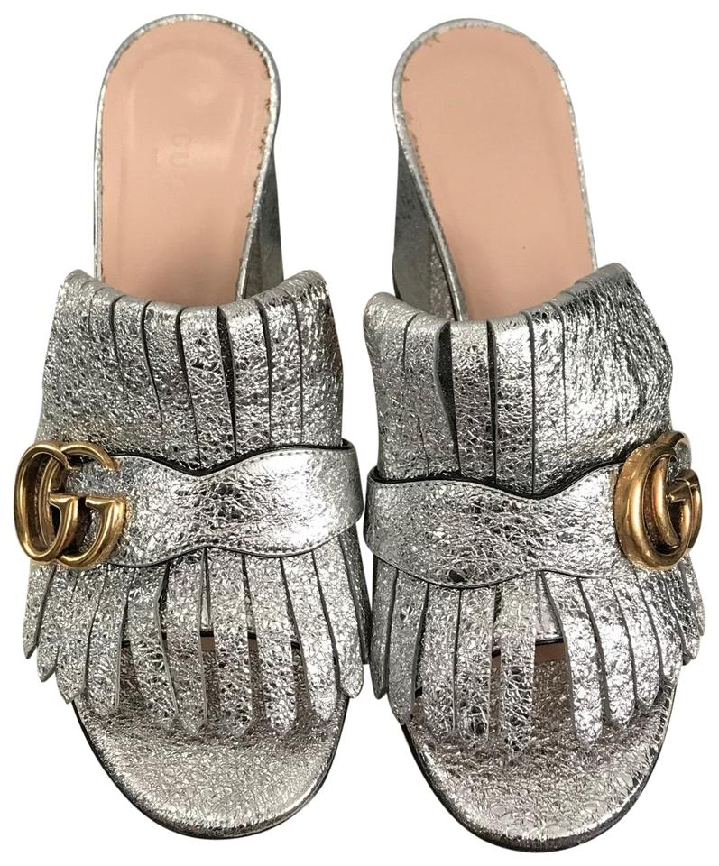 9cce8067964 Gucci Silver Marmont Metallic Sandal Mules Slides Size EU 36 (Approx ...