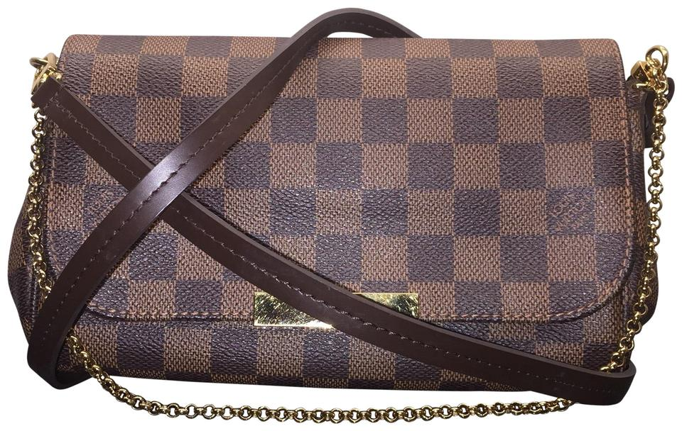 78be4ab87461 Louis Vuitton Favorite Pm Damier Ebene Handbag Clutch Shoulder Brown ...