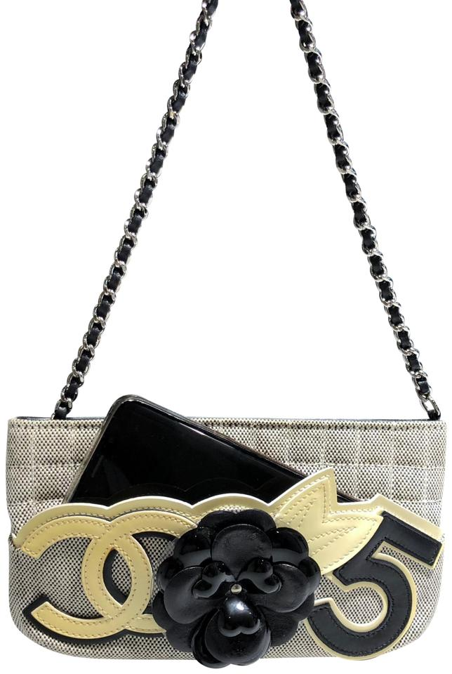 5d9f661033be4f Chanel Camellia Cc No 5 Flower Leather Silver Chain Yellow Black ...