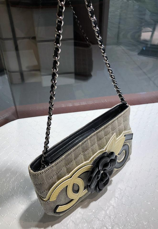 c524f6d4263c16 Chanel Camellia Cc No 5 Flower Leather Silver Chain Yellow Black Gray  Canvas Shoulder Bag - Tradesy