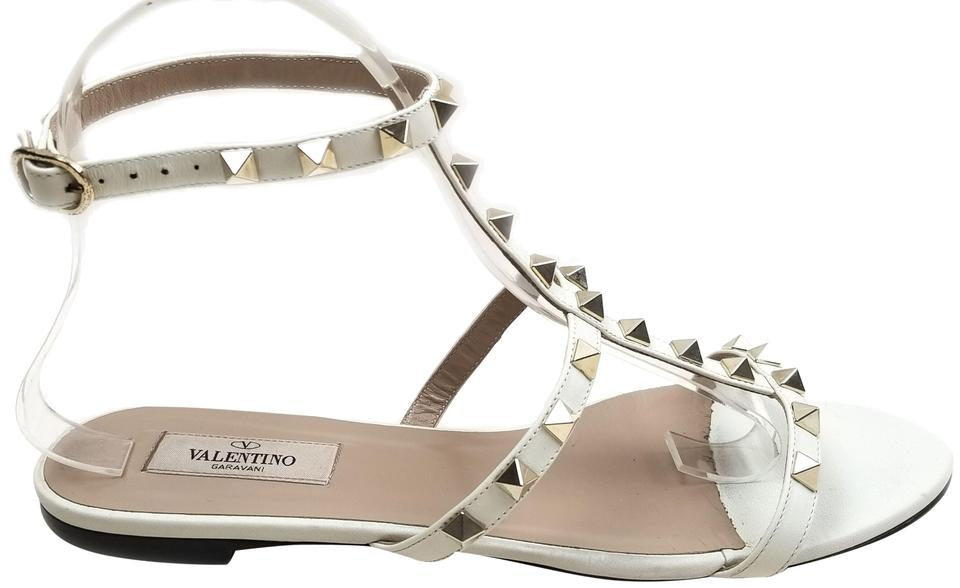 Valentino White Strap Leather Rockstud Flat Ankle Strap White Sandals b6974a