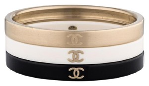 Chanel Authentic Chanel CC Logo Stacking Bangles Set 3 Gold Bracelets Cuff