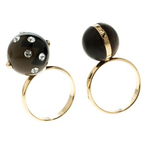 Louis Vuitton Ball Line Crystals Wood Gold Tone Ring Set Size 53
