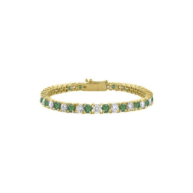 "Green Created Emerald and Cz Tennis Yellow Vermeil.10ct. Tgw. 7"" Bracelet Green Created Emerald and Cz Tennis Yellow Vermeil.10ct. Tgw. 7"" Bracelet Image 1"