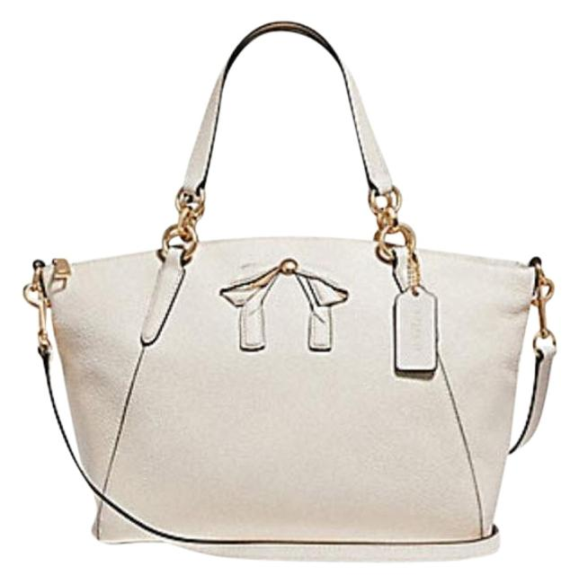 Coach Kelsey W Small Pebble Bow F28969 White Leather Satchel Coach Kelsey W Small Pebble Bow F28969 White Leather Satchel Image 1