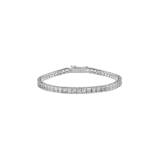 White Designer Tennis Princess Cut Cz Tennis 4ct Silver Bracelet White Designer Tennis Princess Cut Cz Tennis 4ct Silver Bracelet Image 1
