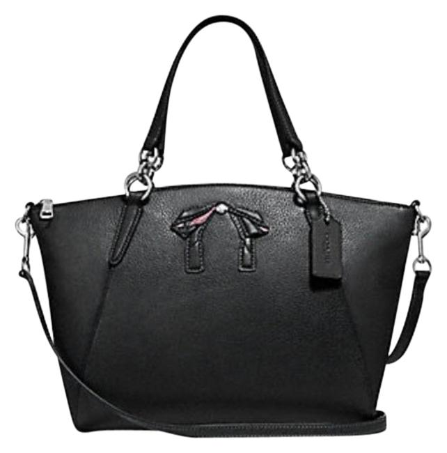Coach Kelsey W Small Bow Pebble F28969 Blue Leather Satchel Coach Kelsey W Small Bow Pebble F28969 Blue Leather Satchel Image 1
