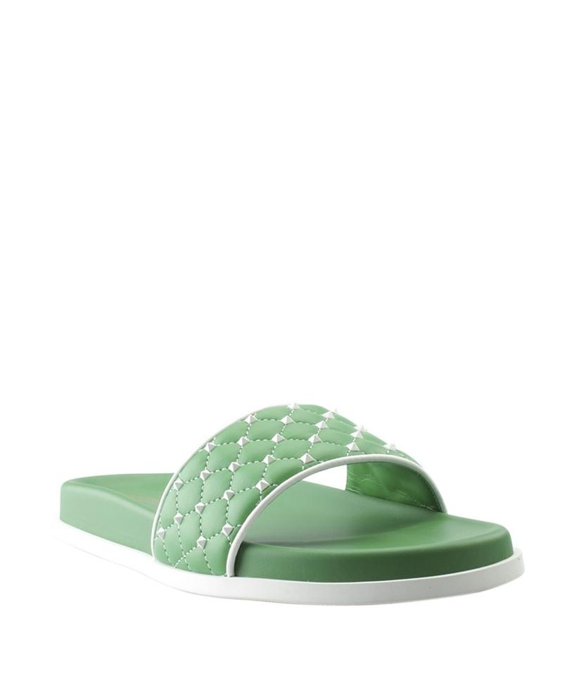 Valentino Green Leather Spike Leather Green (151934) Sandals 2fcdbd