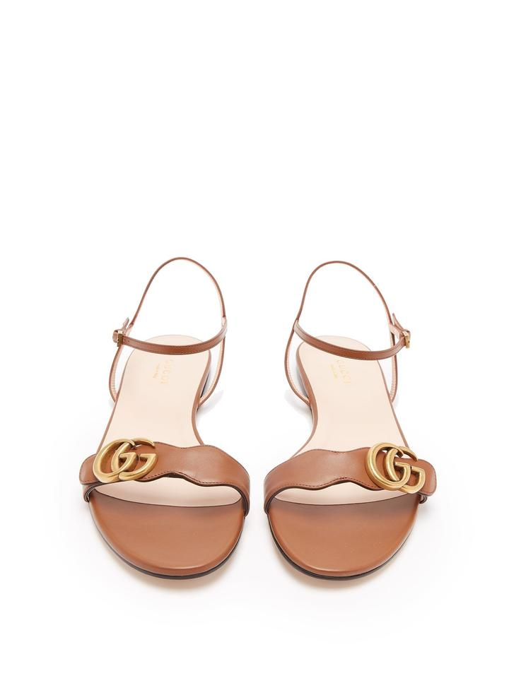 25d98962c Gucci Brown Marmont New Leather Quarter Strap Flat 39.5 Sandals Size ...